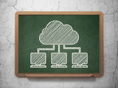 Cloud technology concept: Cloud Network on chalkboard background — Stock Photo