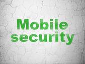 Privacy concept: mobiele beveiliging op muur achtergrond — Stok fotoğraf