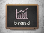 Advertising concept: Growth Graph and Brand on chalkboard background — Stock Photo
