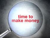 时间概念: 时间去挣钱与光学玻璃 — 图库照片