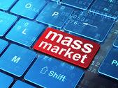 Marketing concept: Mass Market on computer keyboard background — Stock Photo