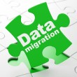 Information concept: Data Migration on puzzle background — Stock Photo