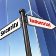 Privacy concept: sign Industrial Security on Building background — Stock Photo