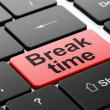 Stock Photo: Timeline concept: Break Time on computer keyboard background