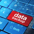 Data concept: Data Backup on computer keyboard background — Stok fotoğraf