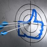 sociala nätverk koncept: pilar i liknande mål på väggen bakgrund — Stockfoto #35939209