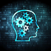 Information concept: Head With Gears on digital background — Stock Photo