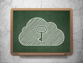 Cloud computing concept: Cloud With Key on chalkboard background — Stock Photo