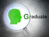 Education concept: Head and Graduate with optical glass — Stock Photo