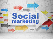 Marketing concept: arrow with Social Marketing on grunge wall — Stock Photo