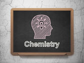 Education concept: Head With Light Bulb and Chemistry — Stock Photo