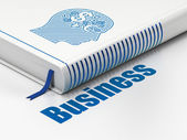 Finance concept: book with Head With Finance Symbol, Business — Photo