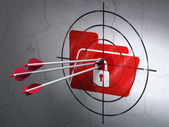 Finance concept: arrows in Folder With Lock target on wall — Stock Photo