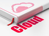 Cloud technology concept: book with Cloud, Cloud on white — Stockfoto