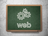 Web development concept: Gears and Web on chalkboard background — Stock Photo