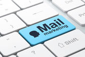 Advertising concept: Head and Mail Marketing on keyboard — Стоковое фото