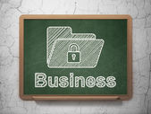 Finance concept: Folder With Lock and Business on chalkboard — Foto de Stock