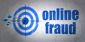 Privacy concept: target and Online Fraud on wall background — 图库照片