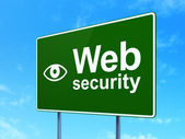 Privacy concept: Web Security and Eye on road sign background — Foto de Stock
