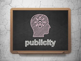 Marketing concept: Head With Light Bulb and Publicity — Stock Photo