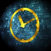 Timeline concept: Clock on digital background — Stock fotografie