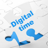 Timeline concept: Digital Time on puzzle background — Stock Photo