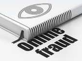 Privacy concept: book with Eye, Online Fraud on white background — Stock Photo