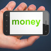Finance concept: Money on smartphone — Zdjęcie stockowe