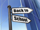 Education concept: sign Back to School on Building background — Stock Photo