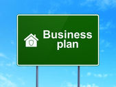 Finance concept: Business Plan and Home on road sign background — Stock Photo