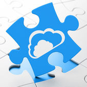 Cloud networking concept: Cloud on puzzle background — Stok fotoğraf