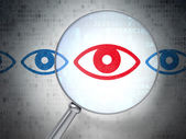 Safety concept: Eye with optical glass on digital background — Stock Photo