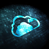 Cloud computing concept: Cloud on digital background — 图库照片