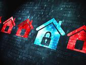 Понятие конфиденциальности: дома на фоне цифровой — Стоковое фото