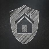 Finance concept: Shield on chalkboard background — Stock Photo