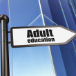 Education concept: sign Adult Education on Building background — Stock Photo #36013215