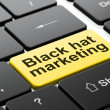 Finance concept: Black Hat Marketing on computer keyboard background — Stock Photo