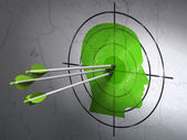 Business concept: arrows in Head target on wall background — Stock Photo