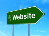 Web design concept: Website and Mouse Cursor on road sign background — Foto de Stock