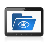 Finance concept: Folder With Eye on tablet pc computer — Stock fotografie