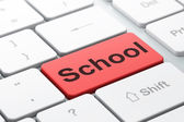 Education concept: School on computer keyboard background — 图库照片