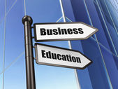 Education concept: sign Business Education on Building background — 图库照片