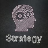 Finance concept: Head With Gears and Strategy on chalkboard background — Stock Photo