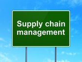 Marketing concept: Supply Chain Management on road sign background — Stock Photo