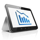 Concepto de la comercialización: declinar gráfico en computadora tablet pc — Foto de Stock