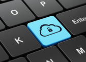 Cloud technology concept: Cloud With Padlock on computer keyboard background — Stock Photo