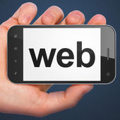 SEO web design concept: Web on smartphone — Stockfoto