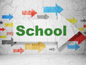 Education concept: arrow with School on grunge wall background — Stockfoto