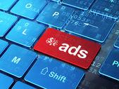 Marketing concept: Finance Symbol and Ads on computer keyboard background — Stock Photo