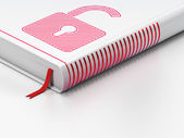 Information concept: closed book, Opened Padlock on white background — 图库照片
